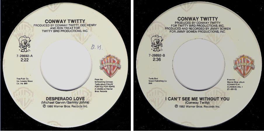 """Twitty, Conway / Desperado Love (1986) / Warner Bros. 7-28692 (Single, 7"""" Vinyl)"""