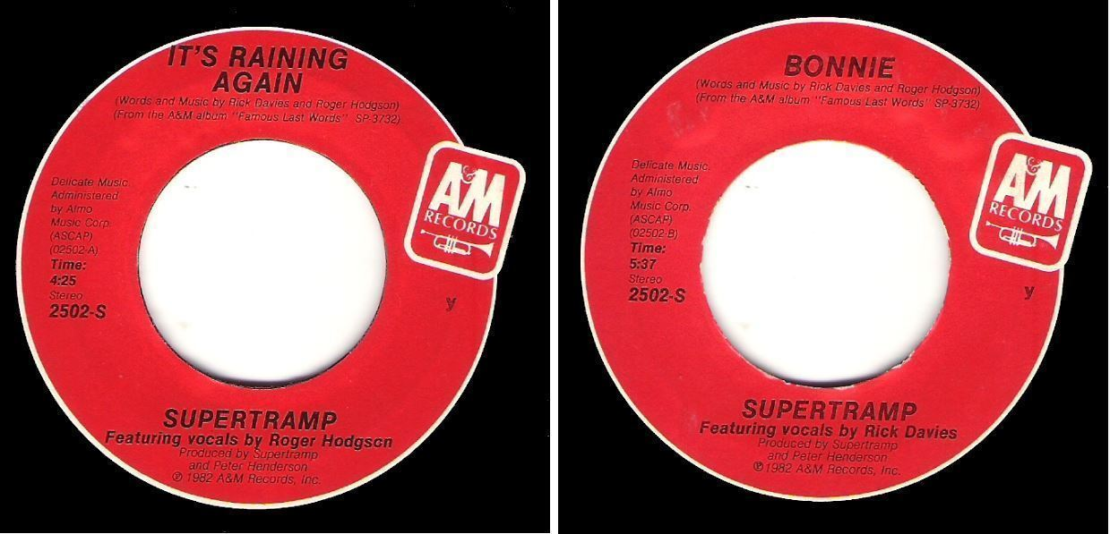 "Supertramp / It's Raining Again (1982) / A+M 2502-S (Single, 7"" Vinyl)"