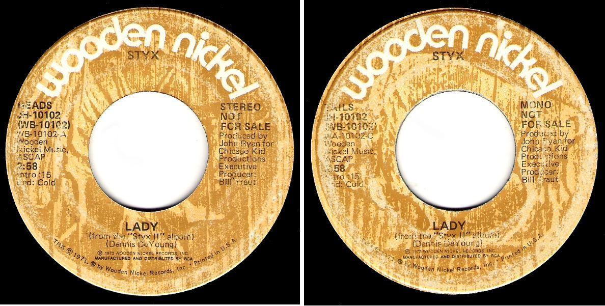 """Styx / Lady (1973) / Wooden Nickel JH-10102 (Single, 7"""" Vinyl)"""