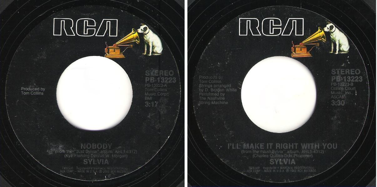 "Sylvia / Nobody (1982) / RCA PB-13223 (Single, 7"" Vinyl)"