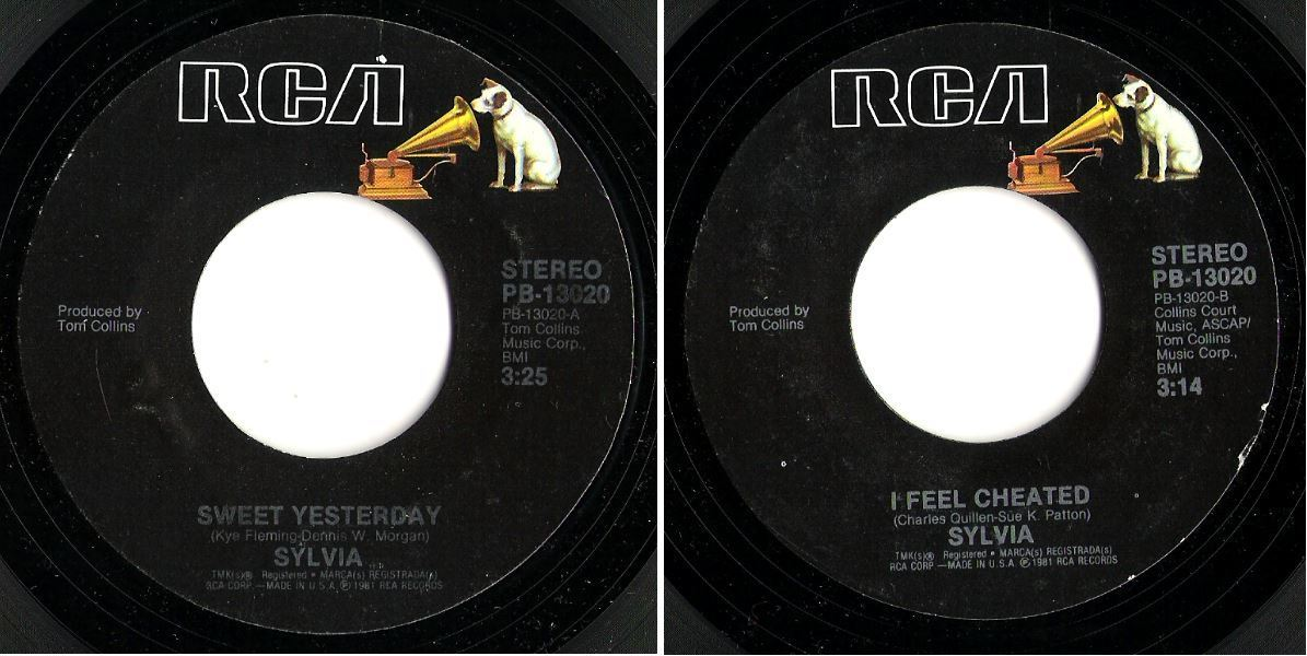 "Sylvia / Sweet Yesterday (1982) / RCA PB-13020 (Single, 7"" Vinyl)"