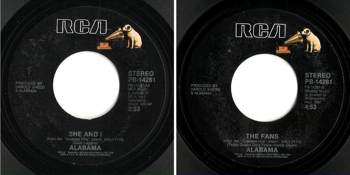 "Alabama / She and I (1986) / RCA PB-14281 (Single, 7"" Vinyl)"