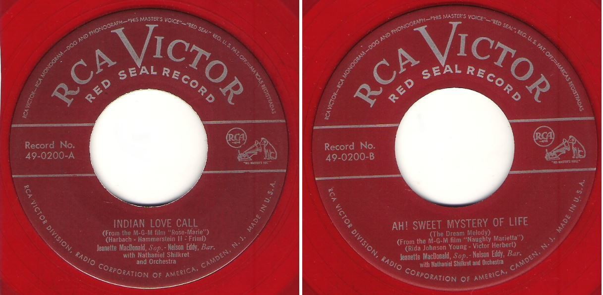 "MacDonald, Jeanette (+ Nelson Eddy) / Indian Love Call (1949) / RCA Victor (Red Seal) 49-0200 (Single, 7"" Red Vinyl)"
