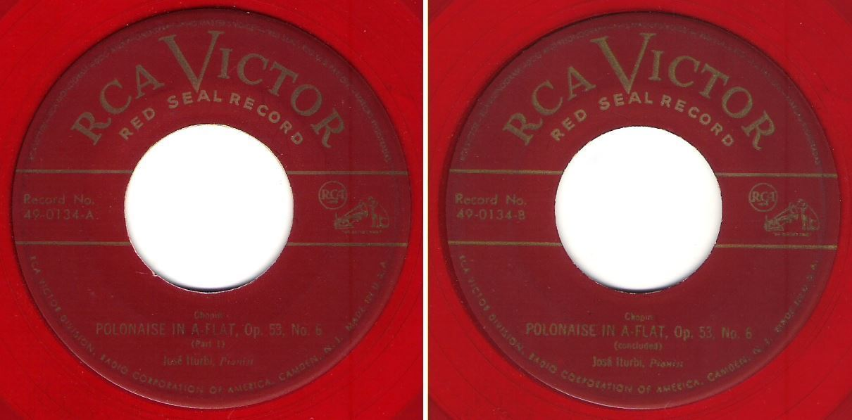 "Iturbi, Jose / Polonaise in A-Flat, Op. 53, No. 6 / RCA Victor (Red Seal) 49-0134 (Single, 7"" Red Vinyl)"