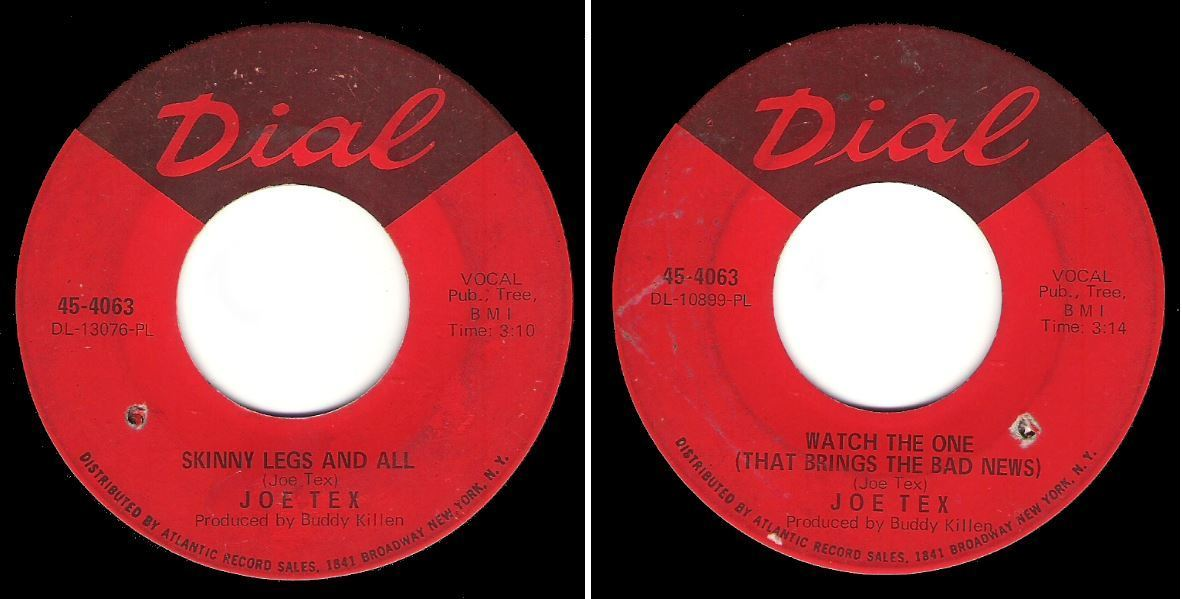 "Tex, Joe / Skinny Legs and All (1967) / Dial 45-4063 (Single, 7"" Vinyl)"