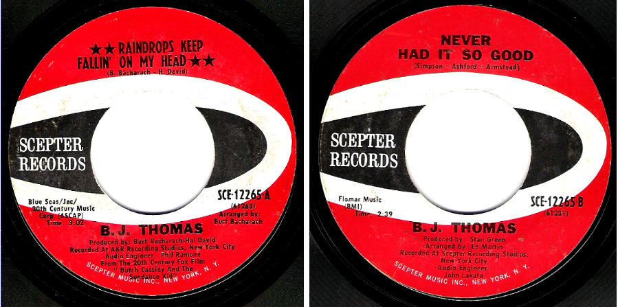"Thomas, B.J. / Raindrops Keep Fallin' On My Head (1969) / Scepter SCE-12265 (Single, 7"" Vinyl)"