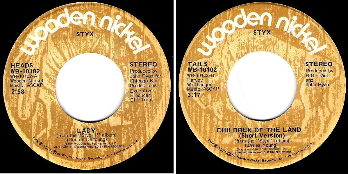 "Styx / Lady (1974) / Wooden Nickel WB-10102 (Single, 7"" Vinyl)"
