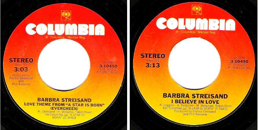 "Streisand, Barbra / Love Theme from ""A Star is Born"" (Evergreen) (1976) / Columbia 3-10450 (Single, 7"" Vinyl)"