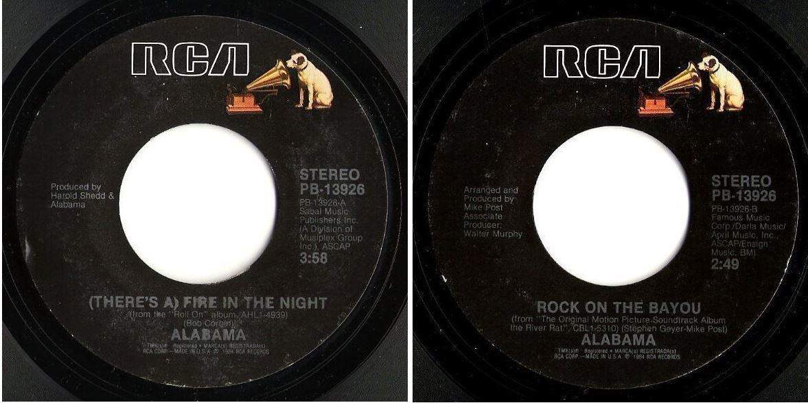 "Alabama / (There's a) Fire in the Night (1984) / RCA PB-13926 (Single, 7"" Vinyl)"