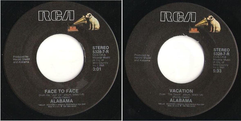 """Alabama / Face To Face (1987) / RCA 5328-7-R (Single, 7"""" Vinyl)"""