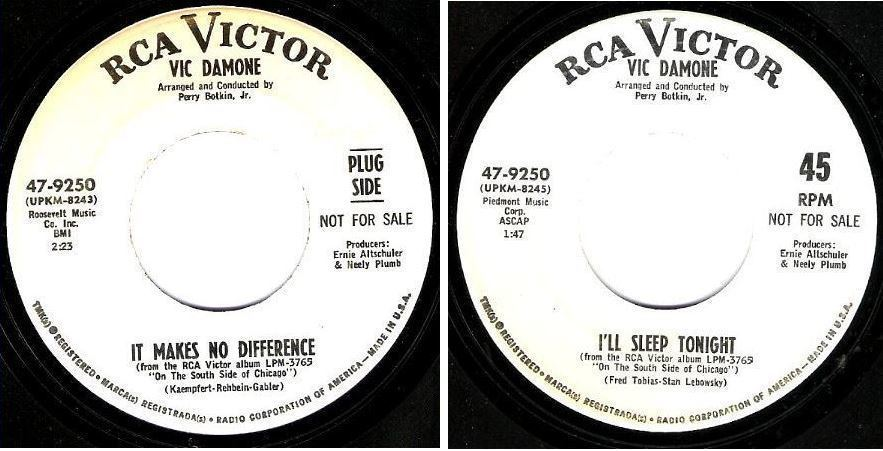 "Damone, Vic / It Makes No Difference (1967) / RCA Victor 47-9250 (Single, 7"" Vinyl) / Promo"
