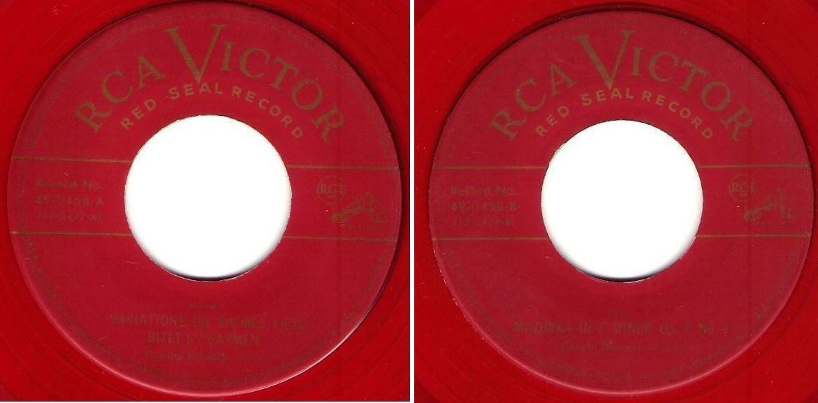 "Horowitz, Vladimir / Variations On Themes From Bizet's ""Carmen"" (1952) / RCA Victor (Red Seal) 49-0458 (Single, 7"" Red Vinyl)"