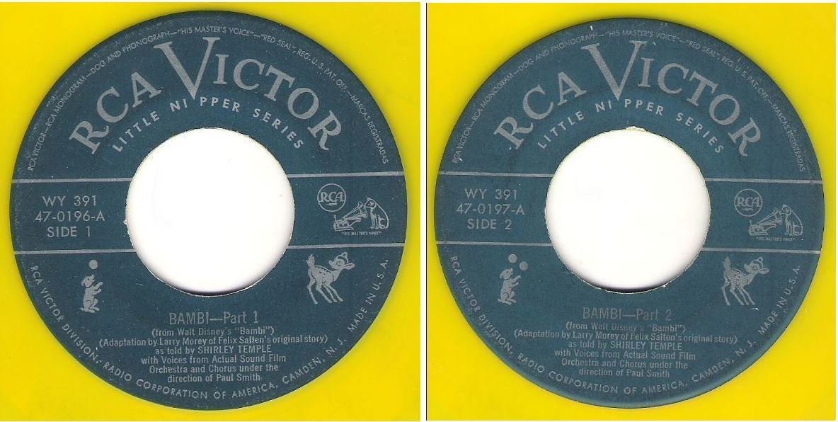 "Temple, Shirley / Bambi (1949) / RCA Victor 47-0196 and 47-0197 (Single 7"" Yellow Vinyl) / 2 Record Set"