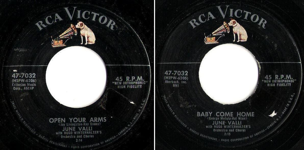 "Valli, June / Open Your Arms (1957) / RCA Victor 47-7032 (Single, 7"" Vinyl)"