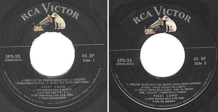 """Como, Perry / Perry Como Highlighter (1957) / RCA Victor SPD-28 (EP, 7"""" Vinyl)"""