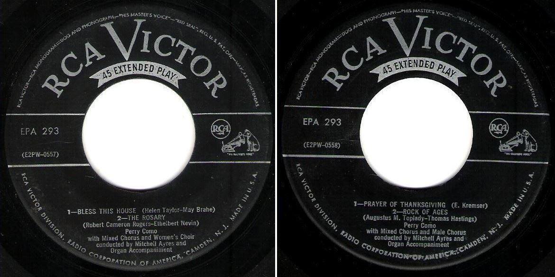 """Como, Perry / Sings His Favorite Songs of Worship (1952) / RCA Victor EPA-293 (EP, 7"""" Vinyl)"""