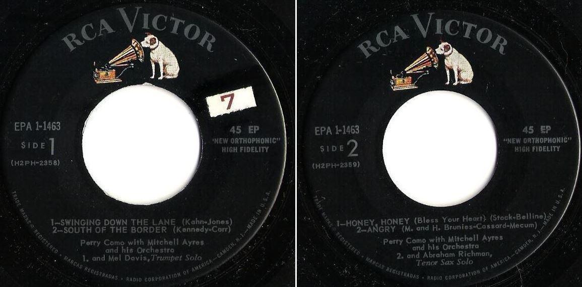 "Como, Perry / We Get Letters, Vol. 1 (1957) / RCA Victor EPA 1-1463 (EP, 7"" Vinyl)"