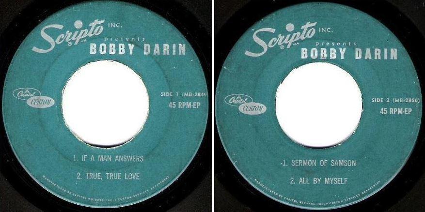 "Darin, Bobby / Scripto Inc. Presents Bobby Darin (1962) / Capitol Custom MB-2849-2850 (EP, 7"" Vinyl)"