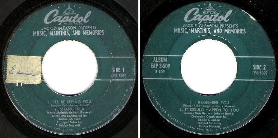 "Gleason, Jackie / Music, Martinis, and Memories (1954) / Capitol EAP 3-509 (EP, 7"" Vinyl)"