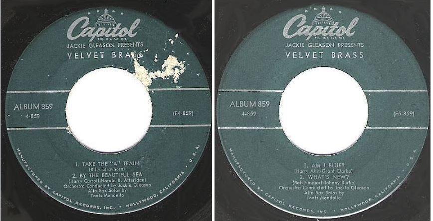 """Gleason, Jackie / Velvet Brass (1957) / Capitol 4-859 (EP, 7"""" Vinyl)"""