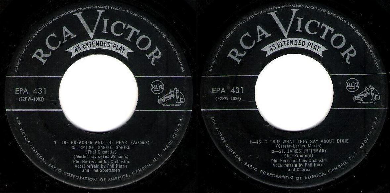 "Harris, Phil / The Preacher and the Bear (1952) / RCA Victor EPA-431 (EP, 7"" Vinyl)"