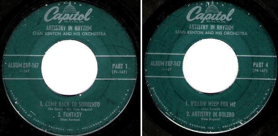 "Kenton, Stan / Artistry In Motion (1950) / Capitol EBF-167 (EP, 7"" Vinyl) / Parts 1 + 4"