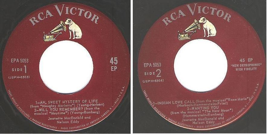 "MacDonald, Jeanette (+ Nelson Eddy) / Ah, Sweet Mystery of Life + 3 (1959) / RCA Victor EPA-5053 (EP, 7"" Vinyl)"