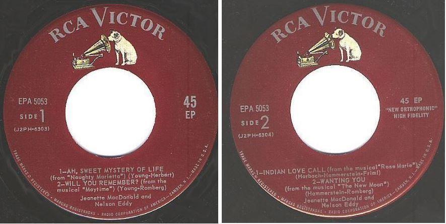 "MacDonald, Jeanette (+ Nelson Eddy) / Ah, Sweet Mystery of Life + 3 (1959) / RCA Victor EPA-5053 (EP, 7"" Vinyl)"