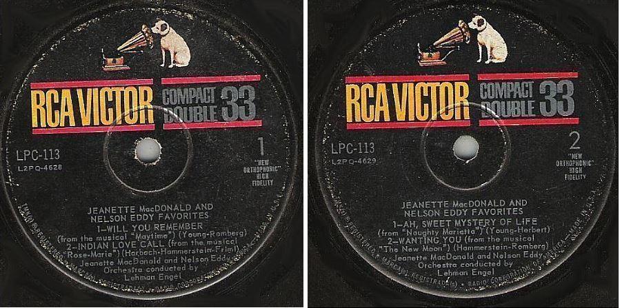 "MacDonald, Jeanette (+ Nelson Eddy) / Favorites (1961) / RCA Victor LPC-113 (EP, 7"" Vinyl)"