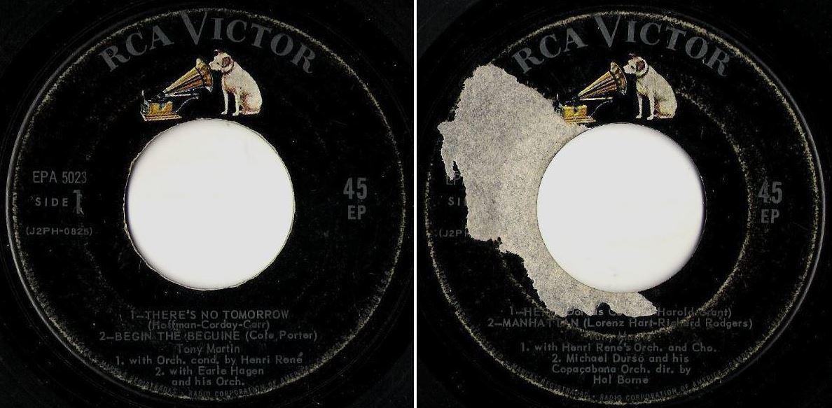 """Martin, Tony / There's No Tomorrow + 3 (1958) / RCA Victor EPA-5023 (EP, 7"""" Vinyl)"""