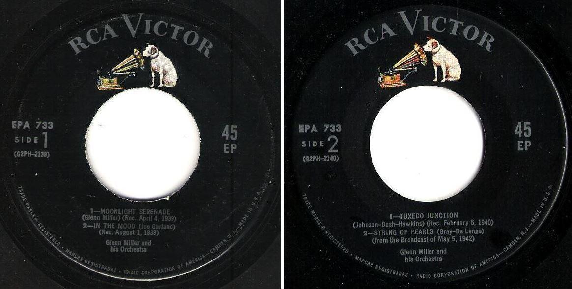 """Miller, Glenn / Plays Selections from """"The Glenn Miller Story"""" (1956) / RCA Victor EPA-733 (EP, 7"""" Vinyl)"""