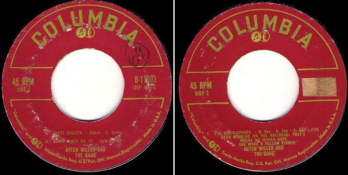 """Miller, Mitch / Sing Along With Mitch, Vol. 3 (1958) / Columbia B-11603 (EP, 7"""" Vinyl)"""