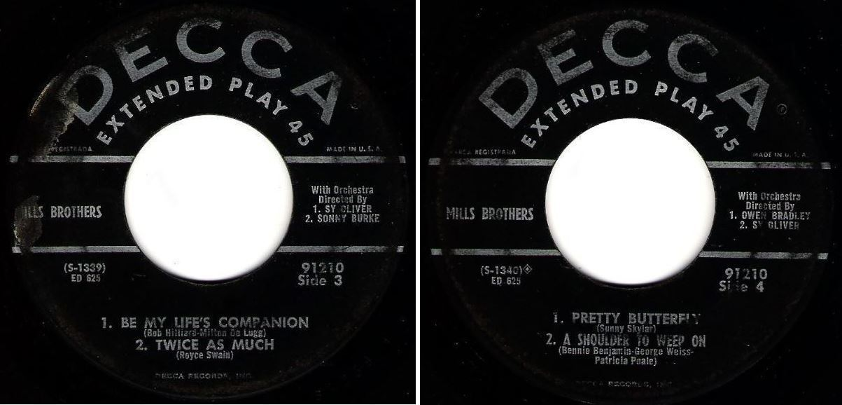 """Mills Brothers, The / Meet The Mills Brothers (1954) / Decca ED-625 (EP, 7"""" Vinyl)"""