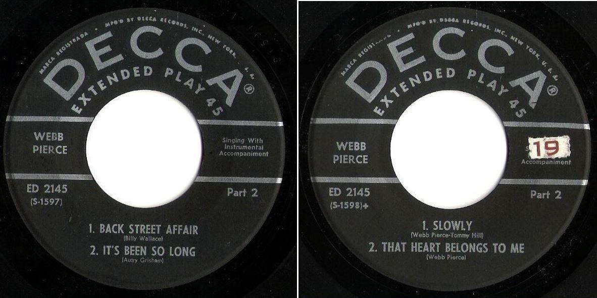 """Pierce, Webb / The Wondering Boy - Part 2 (1954) / Decca ED-2145 (EP, 7"""" Vinyl)"""