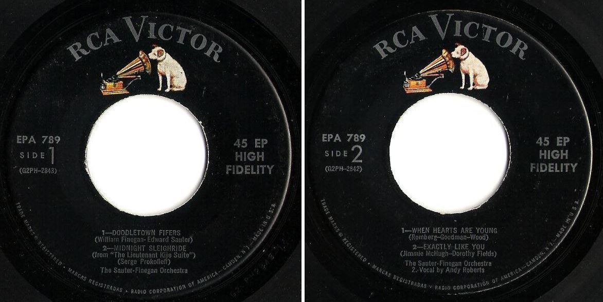 "Sauter-Finegan Orchestra / Doodletown Fifers + 3 (1956) / RCA Victor EPA-789 (EP, 7"" Vinyl)"