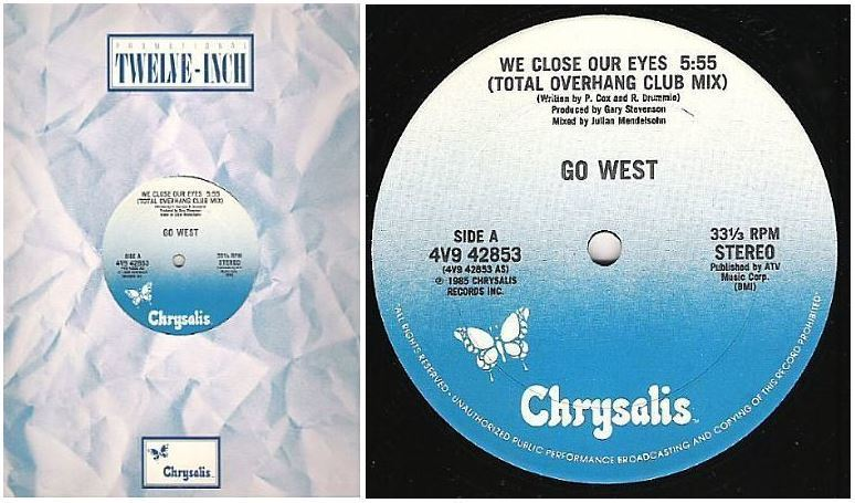 "Go West / We Close Our Eyes (1985) / Chrysalis 4V9-42853 (Single, 12"" Vinyl)"