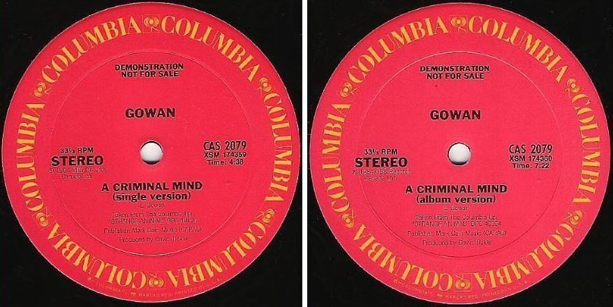 "Gowan / A Criminal Mind (1984) / Columbia CAS-2079 (Single, 12"" Vinyl) / Promo"