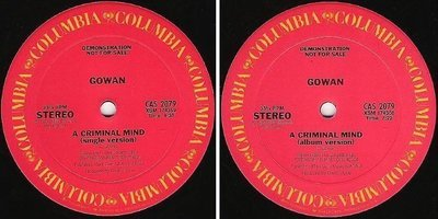 Gowan / A Criminal Mind (1984) / Columbia CAS-2079 (Single, 12