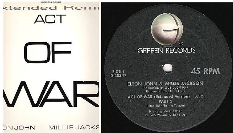 "John, Elton (+ Millie Jackson) / Act of War (Extended Version) Part 3 (1985) / Geffen 0-20347 (Single, 12"" Vinyl)"