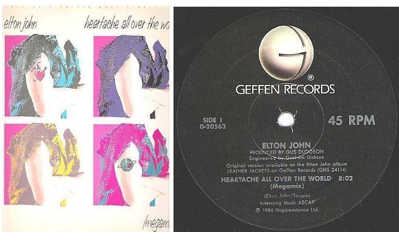 "John, Elton / Heartache All Over the World (Megamix) (1986) / Geffen 0-20563 (Single, 12"" Vinyl)"