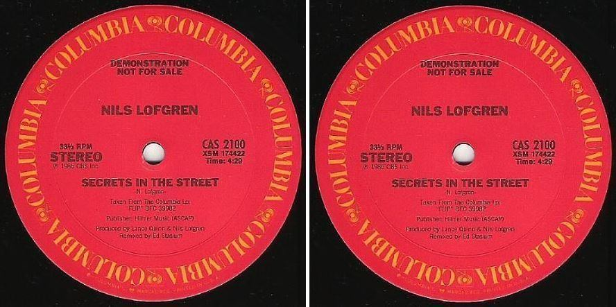 "Lofgren, Nils / Secrets In the Street (1985) / Columbia CAS-2100 (Single, 12"" Vinyl) / Promo"