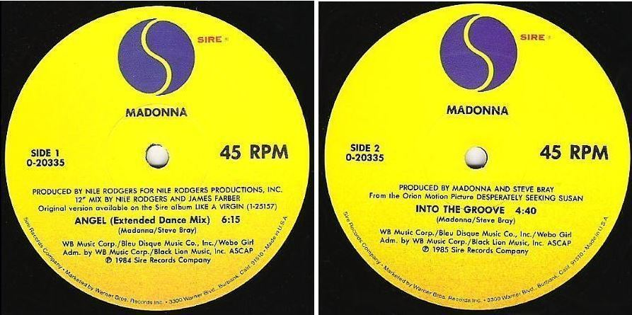 "Madonna / Angel (Extended Dance Mix) (1985) / Sire 0-20335 (Single, 12"" Vinyl)"