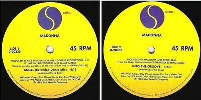 Madonna / Angel (Extended Dance Mix) (1985) / Sire 0-20335 (Single, 12