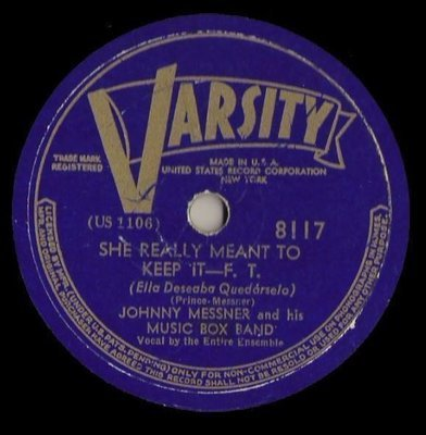 Messner, Johnny (+ his Music Box Band) / She Really Meant to Keep It (1939) / Varsity 8117 (Single, 10