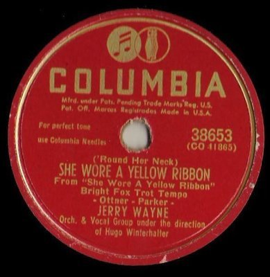 Wayne, Jerry / ('Round Her Neck) She Wore a Yellow Ribbon (1949) / Columbia 38653 (Single, 10