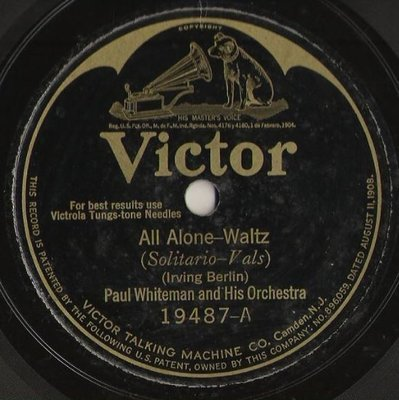 Whiteman, Paul / All Alone (1924) / Victor 19487 (Single, 10