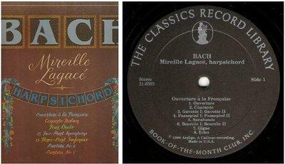 Lagace, Mireille / Bach - Mireille Lagace, Harpsichord (1982) / The Classics Record Library 21-6563 (Album, 12