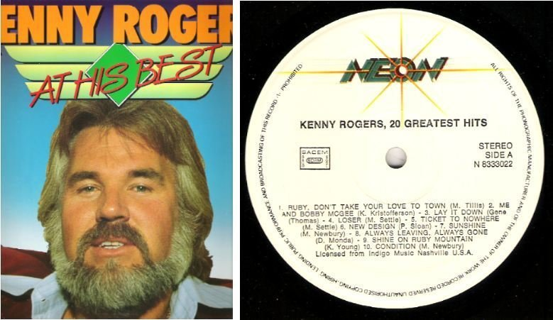 "Rogers, Kenny / At His Best - 20 Greatest Hits (1980's) / Neon N-8333022 (Album, 12"" Vinyl) / Holland"