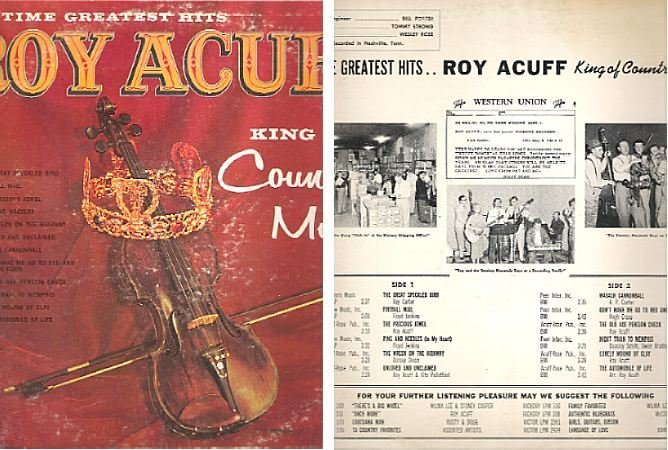 Acuff, Roy / All Time Greatest Hits (King of Country Music) (1962) / Hickory LPM-109 (Album Cover)