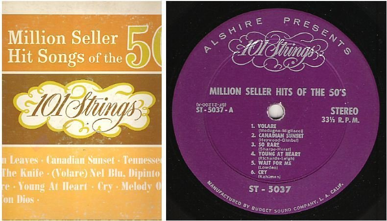 "101 Strings / Million Seller Hit Songs of the 50's (1960's) / Alshire ST-5037 (Album, 12"" Vinyl)"